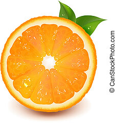 vatten, apelsin, droppe, blad, halvt