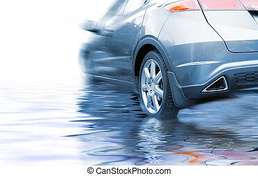 vatten, bil, återgäldat, sport