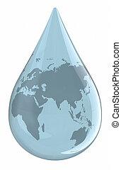 vatten droppe, världen kartlägger