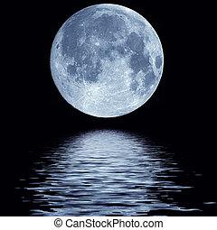 vatten, fyllda, över, måne