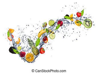 vatten, plaska, blanda, frukt, bakgrund, isolerat, vit