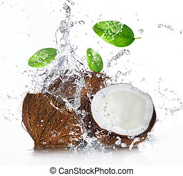 vatten, plaska, knäckt, kokosnöt