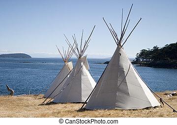 vatten, tipi, läger