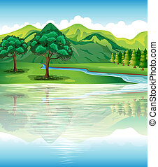 vatten, vår, land, naturliga resurser