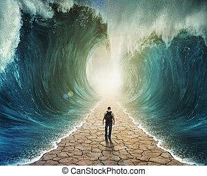vatten, vandrande, genom