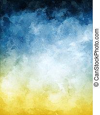 vattenfärg, bakgrund, abstrakt, blå, gul