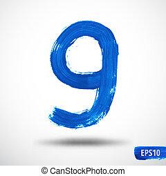 vattenfärg, number., nio, grunge, bakgrund