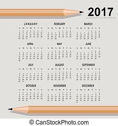 vecka, sätta, planläggare, startar, months., vektor, design, sunday., kalender, 2017, 12, template.