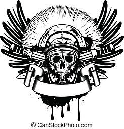 vektor, avbild, korsat, svärd, hjälm, kranium
