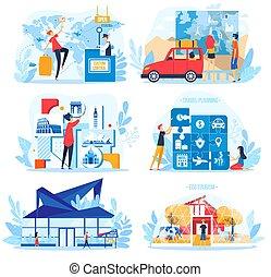 vektor, begrepp, lägenhet, vit, res turism, sätta, tecknad film, man, planerande, illustration, isolerat, semester, helgdag, tecken, turist, kvinna
