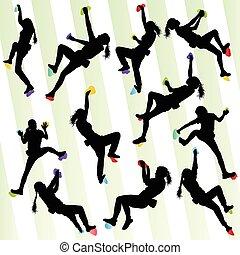 vektor, begrepp, vägg, sätta, bakgrund, vagga att klättra, flicka