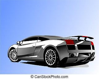 vektor, bil, concept-car, visa, illustration