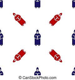 vektor, blå, mönster, munk, isolerat, ikon, seamless, röd, illustration, vit, bakgrund.