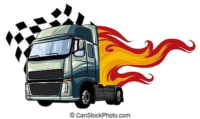 vektor, design, halv-, illustration, tecknad film, truck.