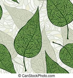 vektor, det leafs, grön, seamless, årgång