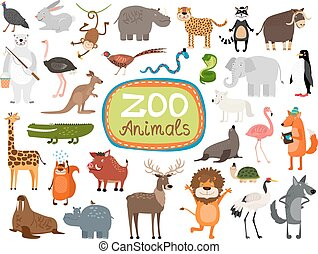 vektor, djuren, zoo