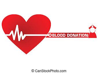 vektor, donation, begrepp, blod, illustration