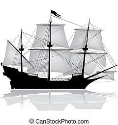 vektor, gammal, segelbåt