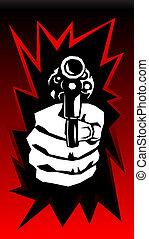 vektor, gevär, hand