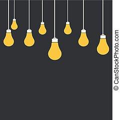 vektor, glödlampor, lätt, illustration