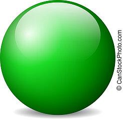 vektor, grönt kula