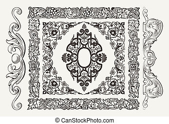 vektor, gyllene, dekor, sätta, baner, avdelare, mönster, elements:, kanter, agremanger, utsirad, sida