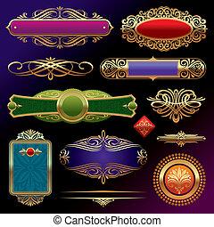 vektor, gyllene, utsirad, sida banér, bakgrund, sätta, mörk, inramar, mönster, deviders, dekor, agremanger, elements: