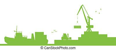 vektor, hamn, begrepp, transport, sänder, industriell, ekologi, havsstrand, kran
