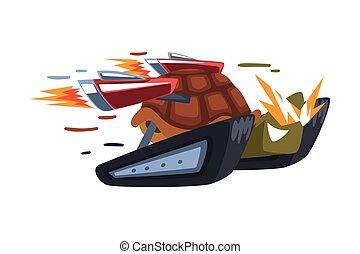 vektor, illustration, tecknad film, sköldpadda, hastighet, booster, vit, djur, bakgrund, fasta, eld, tecken, cyborg, turboladdare