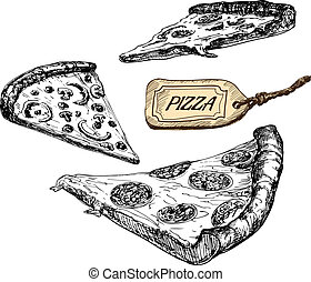 vektor, illustrationer, slices., sätta, pizza
