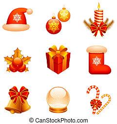 vektor, jul, icons.