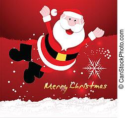 vektor, jul, jultomten, lycklig