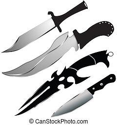 vektor, knivar, sätta, -, speciell