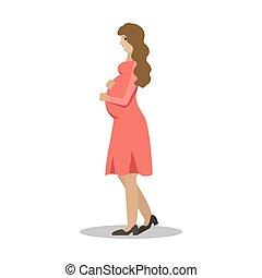 vektor, kvinna, profile., illustration, gravid