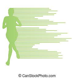 vektor, kvinna, silhuett, bakgrund, gångmatta, affisch, stripes, begrepp, mall, gjord