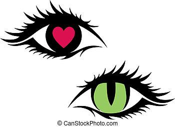 vektor, kvinnlig, ögon