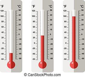 vektor, lägenhet, sätta, termometer, ikonen