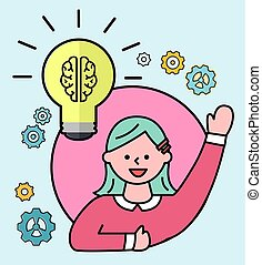 vektor, lök, skapande, idé, avatar, kvinnlig, lätt