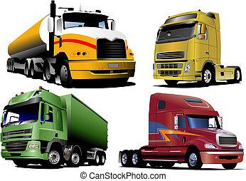 vektor, lastbilar, fyra, illustration, road.