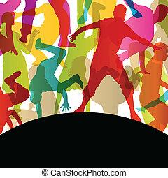 vektor, män, abstrakt, dansare, ung, illustration, paus, silhouettes, gata, bakgrund, aktiv, kvinnor
