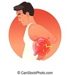 vektor, mänsklig, sports, eller, överbelastning, injury., baksida, arbete, torso., illustration, begrepp, pinlig