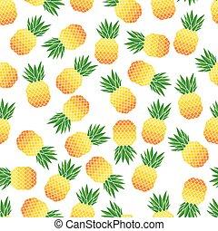 vektor, mönster, ananas, seamless, illustration