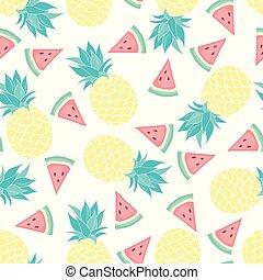 vektor, mönster, ananas, seamless