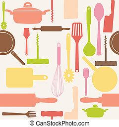 vektor, mönster, tools., seamless, kök