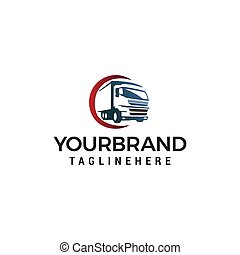 vektor, mall, transport, logo, design, lastbil, begrepp