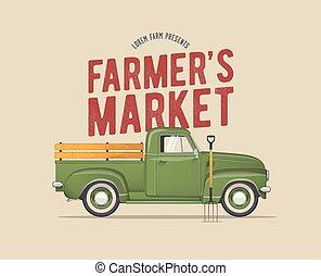 vektor, marknaden, pickupen, designa, årgång, gammal, bonde, lastbil, skola, illustration, themed, grön