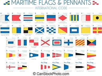 vektor, pennants, flaggan, illustration, kust, internationell, kodex