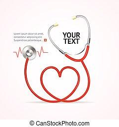 vektor, röd, stethoscope.