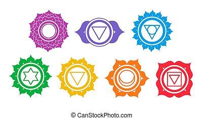 vektor, sätta, chakra, symboler