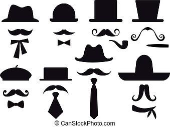vektor, sätta, hattar, mustasch